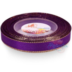 12mm Senorita Gold Edge Satin Ribbon - Purple 014G