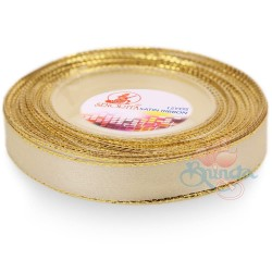 12mm Senorita Gold Edge Satin Ribbon - Ivory 01G