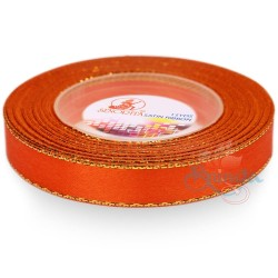 12mm Senorita Gold Edge Satin Ribbon - Dark Orange 116G