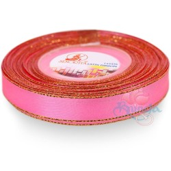 12mm Senorita Gold Edge Satin Ribbon - Deep Pink 13G