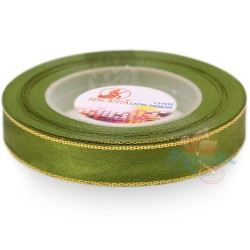 12mm Senorita Gold Edge Satin Ribbon - Olive Green 208G