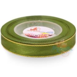 12mm Senorita Gold Edge Satin Ribbon - Olive Green 208G