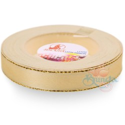 12mm Senorita Gold Edge Satin Ribbon - Pearl 224G