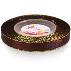 12mm Senorita Gold Edge Satin Ribbon - Chestnut Brown 225G