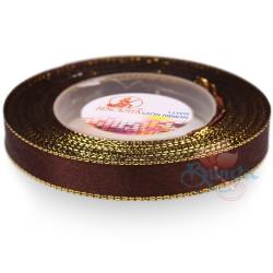 12mm Senorita Gold Edge Satin Ribbon - Chestnut Brown 225G