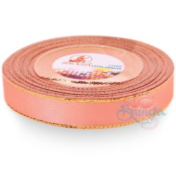 12mm Senorita Gold Edge Satin Ribbon - Light Peach 228G
