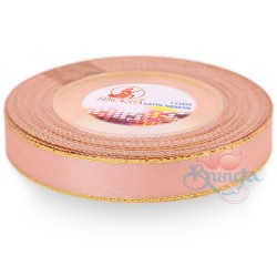 12mm Senorita Gold Edge Satin Ribbon - Light Salmon 229G