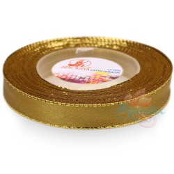 12mm Senorita Gold Edge Satin Ribbon - Khaki 246G