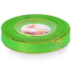 12mm Senorita Gold Edge Satin Ribbon - Bright Green 251G