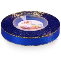 12mm Senorita Gold Edge Satin Ribbon - Electric Blue 25G