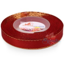 12mm Senorita Gold Edge Satin Ribbon - Red 28G