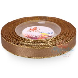 12mm Senorita Gold Edge Satin Ribbon - Espresso 5140G