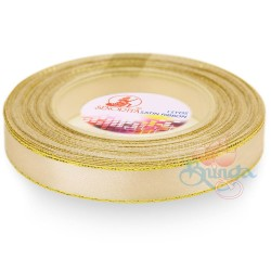 12mm Senorita Gold Edge Satin Ribbon - Butter Milk 51G