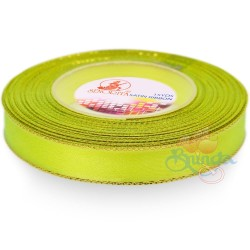 12mm Senorita Gold Edge Satin Ribbon - Grass Green 535G