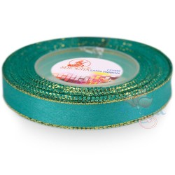 12mm Senorita Gold Edge Satin Ribbon - Tiffany Blue 548G