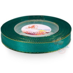 12mm Senorita Gold Edge Satin Ribbon - Teal 549G