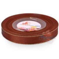 12mm Senorita Gold Edge Satin Ribbon - Cinnamon 568G