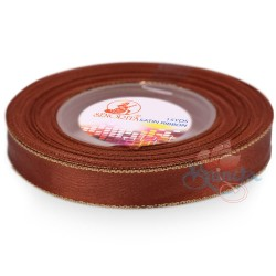 12mm Senorita Gold Edge Satin Ribbon - Cinnamon 568G