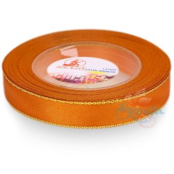 12mm Senorita Gold Edge Satin Ribbon - Orange 6G