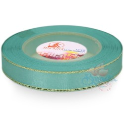 12mm Senorita Gold Edge Satin Ribbon - Light Turquoise 802G