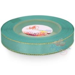 12mm Senorita Gold Edge Satin Ribbon - Light Turquoise 802G