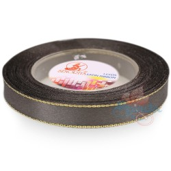 12mm Senorita Gold Edge Satin Ribbon - Metal Grey 805G