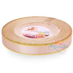 12mm Senorita Gold Edge Satin Ribbon - Pink Beige 806G