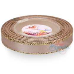 12mm Senorita Gold Edge Satin Ribbon - Bleeker Beige 807G