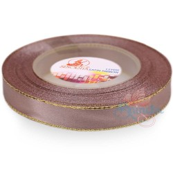 12mm Senorita Gold Edge Satin Ribbon - Pinky Brown 808G