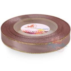 12mm Senorita Gold Edge Satin Ribbon - Pinky Brown 808G