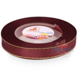 12mm Senorita Gold Edge Satin Ribbon - Merlot 809G