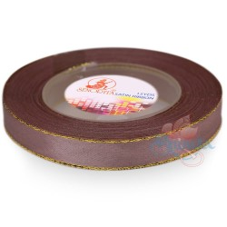 12mm Senorita Gold Edge Satin Ribbon - Deep Taupe 810G