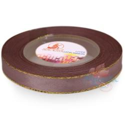 12mm Senorita Gold Edge Satin Ribbon - Deep Taupe 810G