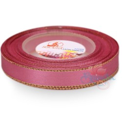 12mm Senorita Gold Edge Satin Ribbon - Classic Rose 811G