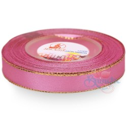 12mm Senorita Gold Edge Satin Ribbon - Carnation Pink 812G