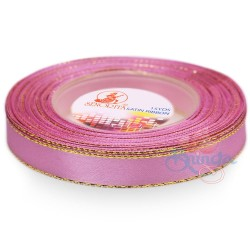 12mm Senorita Gold Edge Satin Ribbon - Vintage Pink 814G