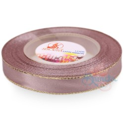 12mm Senorita Gold Edge Satin Ribbon - Rosy Brown 815G