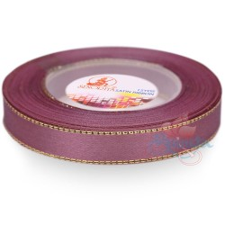 12mm Senorita Gold Edge Satin Ribbon - Old Purple 816G