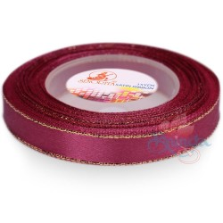 12mm Senorita Gold Edge Satin Ribbon - Burgundy 817G