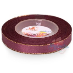 12mm Senorita Gold Edge Satin Ribbon - Mulberry 818G