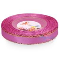 12mm Senorita Gold Edge Satin Ribbon - Thulian Pink 819G