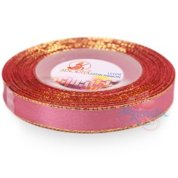 12mm Senorita Gold Edge Satin Ribbon - Vintage Rose A37G