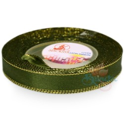 12mm Senorita Gold Edge Satin Ribbon - Dark Forest A09G