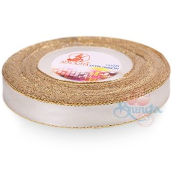 12mm Senorita Gold Edge Satin Ribbon - Light Ivory A18G