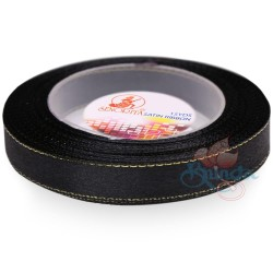 12mm Senorita Gold Edge Satin Ribbon - Black Gold BLKG