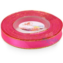 12mm Senorita Gold Edge Satin Ribbon - Fluorescent Pink F106G