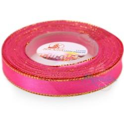 12mm Senorita Gold Edge Satin Ribbon - Fluorescent Pink F106G