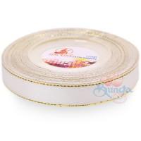 12mm Senorita Gold Edge Satin Ribbon - White Gold WG