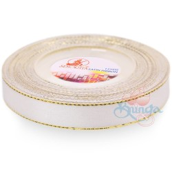 12mm Senorita Gold Edge Satin Ribbon - White Gold WG