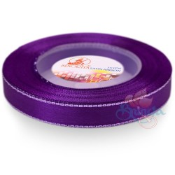 12mm Senorita Silver Edge Satin Ribbon - Purple 014s